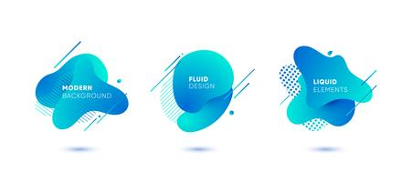 Dynamiska färgade grafiska element. Gradient abstrakta banderoller med flytande flytande former. Mall för design av en logotyp, affisch eller presentation. Vektor illustration.