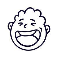 Rundes abstraktes Gesicht mit glücklichen Gefühlen. glücklicher lächelnder Emoji-Avatar. Porträt eines jubelnden Mannes. Cartoon-Stil. flaches Design-Vektor-Illustration. vektor
