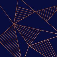 abstrakte geometrische Dreiecke niedriges Polygonkupfermuster auf blauem Hintergrund Luxusstil vektor