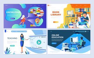 Set med målsida mall för utbildning, kunskap, bokbibliotek, undervisning vektor
