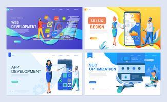 Set med målsida mall för webb- och apputveckling, UI / UX Design, SEO