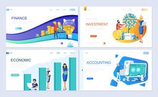 Set der Landing-Page-Vorlage für Finanzen, Investitionen, Rechnungswesen, Wirtschaftswachstum