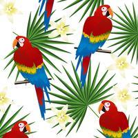 Tropisk sömlös mönster bakgrund med papegojor och tropiska blad