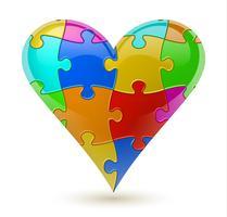 Puzzle Herz. Vektor-Illustration