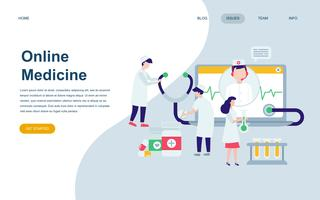 Modern platt webbdesign mall för medicin och sjukvård