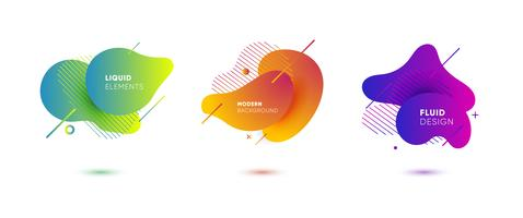 Gradient abstrakta banderoller med flytande flytande former