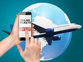 Hand, die ein Mobiltelefon hält. Kaufen Sie Flugtickets Online-Konzept. Vektor-Illustration vektor