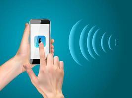 Hand mit Handy mit Mikrofontaste und intelligenten Technologien im flachen Stil. persönlicher Assistent und Spracherkennungskonzept. Vektor-Illustration vektor