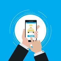 Vektor-Illustrationsdesign der Taxiservice-Smartphone-Anwendung flaches für Netzfahnen und-apps