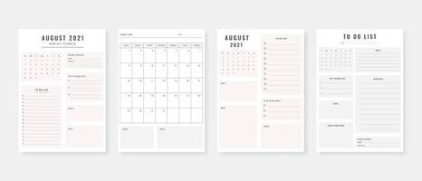 August 2021 - Planer. moderner Planer-Vorlagensatz. Set von Planer und To-Do-Liste. Vorlage für den monatlichen, wöchentlichen, täglichen Planer. Vektor-Illustration. vektor
