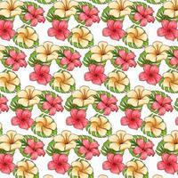 tropisches Muster mit exotischen Pflanzenblumen und -blättern im Karikaturstil vektor