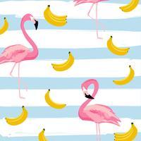 Flamingo und Bananen mit nahtlosem Musterhintergrund der Streifen. Tropische Plakatgestaltung