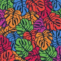 Färgglada monstera lämnar sömlös mönsterbakgrund. Tropisk affischdesign