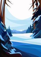 winterlicher Fichtenwald. Naturlandschaft in vertikaler Ausrichtung. vektor