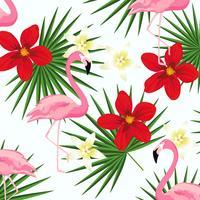 Flamingo och tropiska löv på ränder sömlös mönster bakgrund