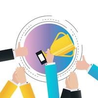 Erfolg im Geschäftssteigungsfarbvektor-Illustrationsdesign