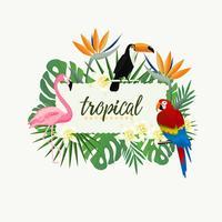 Tropisk bannerram med papegoja, toucan, flamingo och tropiska löv