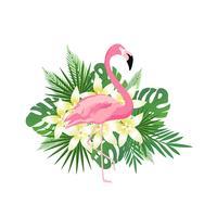 Tropisk bakgrund med flamingo, blommor och tropiska blad