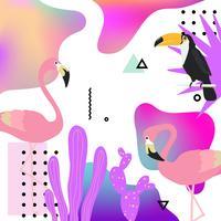 Trendig flytande bakgrund med flamingo, toucan och tropiska blad