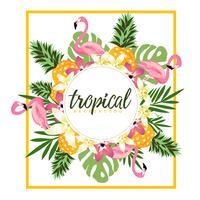 Tropisk bakgrund med flamingos och ananas