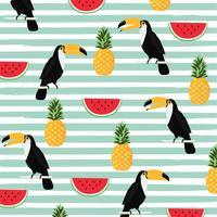 Ananas, Wassermelone und Tukan mit nahtlosem Musterhintergrund der Streifen vektor