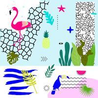 Tropisk djungel lämnar bakgrund med flamingo och toucan