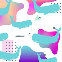 Färgglada sommarvätska sömlösa mönster bakgrund med valar vektor