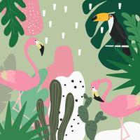 Tropisk djungel lämnar bakgrund med flamingos och toucan