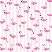 Flamingos mit nahtlosem Musterhintergrund der Streifen