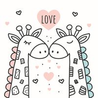 Giraffen-Liebes-Hintergrund-Vektor vektor