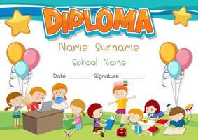 Diplom- oder Zertifikatsvorlage für Schulkinder vektor