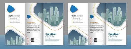 Business-Broschüren-Vorlage im dreifach gefalteten Layout. Corporate-Design-Broschüre mit replizierbarem Bild. vektor