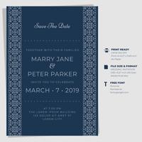 Tappning bröllopinbjudan kort mallar vektor