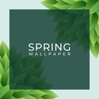Frühlings-Entwurfs-Quadrat-Element mit Grün verlässt Hintergrund vektor