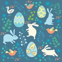 Glad påsk bakgrund med färgade kaniner, ägg och fåglar vektor