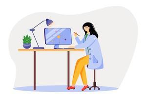 Wissenschaftler am Arbeitsplatz flache Vektorgrafiken. Frau im blauen Laborkittel. Universitätsprofessor. Physiker, der Computer für die Forschung verwendet, isolierte Zeichentrickfigur auf weißem Hintergrund vektor