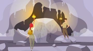 Expedition in Höhlen flache Vektorgrafiken. Mann und Frau erkunden den Berg mit Fackeln. weibliche Fundwandmalerei. Mann, der Wandbilder beobachtet. Touristen Zeichentrickfiguren vektor