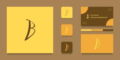 Buchstabe b Logo-Design mit Visitenkarte vektor