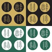Icons Set von Cartoon-Tannenbaum-Aufklebern vektor