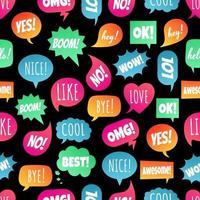 nahtlose Muster mit Sprechblasen flacher Farbverlauf Design andere Formen mit Textliebe, ja, wie, lol, cool, wow, Boom, ja... handgezeichnete Comic-Cartoon-Stil-Set Vektor-Illustration isoliert. vektor