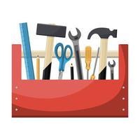 roter Werkzeugkasten aus Holz vektor
