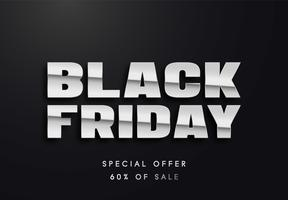 Black Friday-Silber beschriftet Vektorillustration