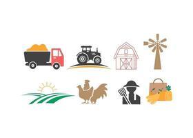 Bauernhof Landwirtschaft Symbol Design Vorlage Vektor Illustration