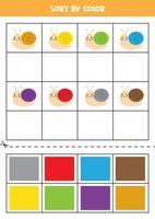 Bilder nach Farbe sortieren. süße Schnecke. Spiel für Kinder. schneiden und Kleben. vektor