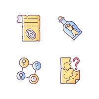 Mystery Quest RGB-Farbsymbole gesetzt. Papierscheiße mit Fingerabdruck. Flaschenpost. Teil der Mystery-Quest. isolierte Vektorillustrationen. Fluchtraum einfache gefüllte Strichzeichnungen-Sammlung vektor