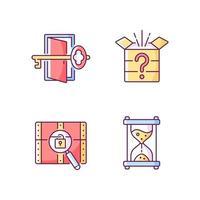 Puzzle-RGB-Farbsymbole gesetzt. Schlüssel finden, um herauszukommen. mysteriöse Schachtel. Zeit-Countdown. Hinweise für Rätsel. Teil der Mystery-Quest. isolierte Vektorillustrationen. Fluchtraum einfache gefüllte Strichzeichnungen-Sammlung vektor