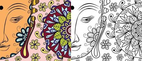 Gautam Buddha Design Malbuchseite für Erwachsene und Kinder Vektorgrafiken vektor