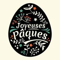 Glad påskbrev eller Joyeuses Pâques med ägg och lövbakgrund vektor