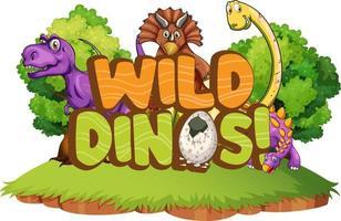 niedliche Dinosaurier-Cartoon-Figur mit Schriftdesign für Wort wilde Dinos vektor