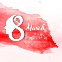 Abstrakt Happy Women's Day färgstark akvarell bakgrundsdesign